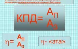 Формула полезной работы в физике для кпд